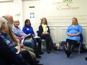 Listening to club members, Wonderland Book Club, Raleigh, NC
