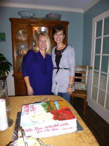 With friend & baker Rachael Muldrow & the fabulous book-cover cake, launch party, Greenville, SC