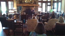 Talking Keowee Valley & Cherokee history in Orchard House, The Reserve at Lake Keowee Artist-in-Residence, Sunset, SC