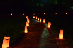 lighted luminaries at my book launch, Greenville, SC