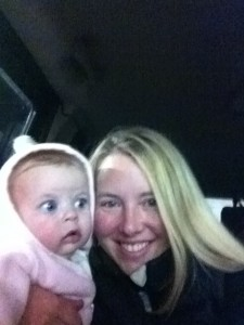 With my 6 month-old, Willa, in the broken down car on Thanksgiving Eve