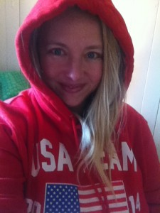 In my brand new Team USA Sochi 2014 sweatshirt. I love a good sweatshirt.