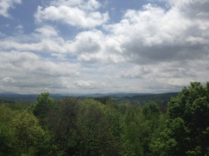 View of the Green Mountains from the lookout tower at the top of Hubbard Park in Montpelier.