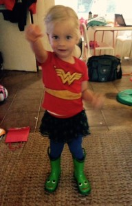 My toddler, as Wonder Woman.