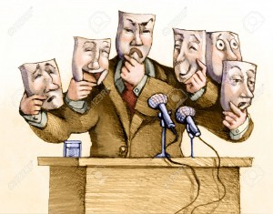 40805549-a-politician-speaks-to-the-public-with-a-set-of-masks-Stock-Photo