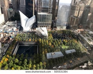 An aerial view of the September 11th memorial in downtown New York City.