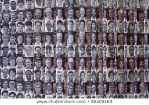Wall of photographs: the faces of immigrants to the U.S. at Ellis Island