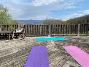 Yoga on the upper deck of the Lodge