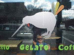 Young Rion Coadwell in the gelato shop where he grew up