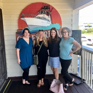 With fellow writers and friends Gina Heron, Heather Bell Adams, and Terry Lynn Thomas in Garden City, S.C.